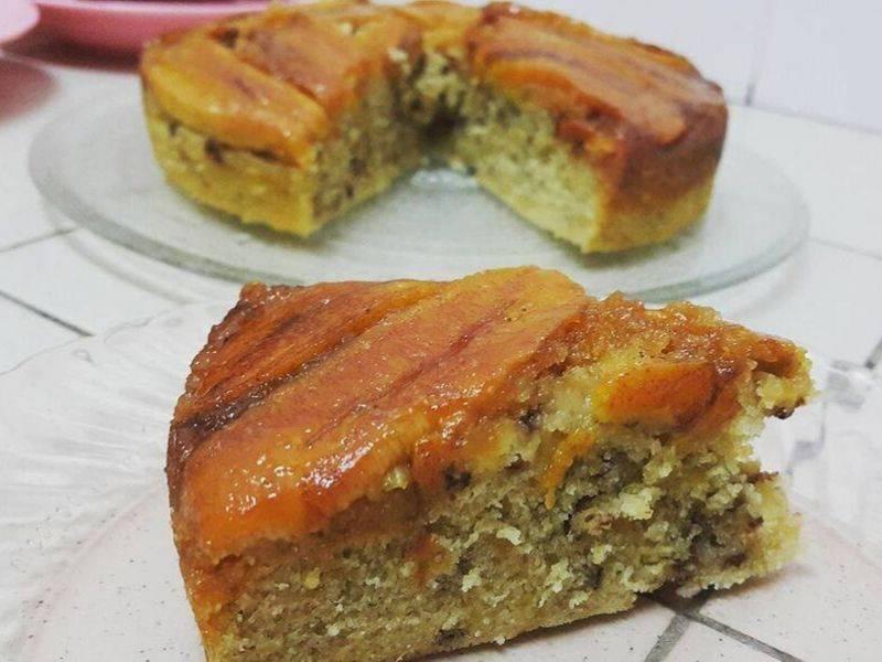 kek pisang karamel perisa pisang asli manisnya karamelmemang padulah rasa Resepi Kek Badam Kukus Enak dan Mudah